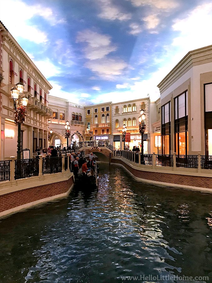 View of the Water at the Canal Shops in Las Vegas Decorated for Christmas