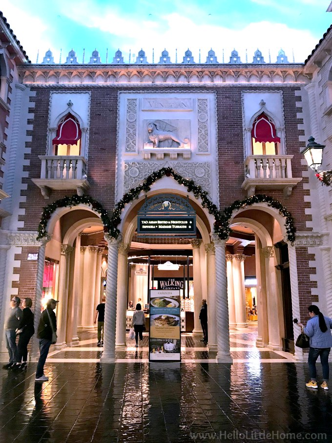The Canal Shops at the Venetian Decorated with Greenery for Christmas