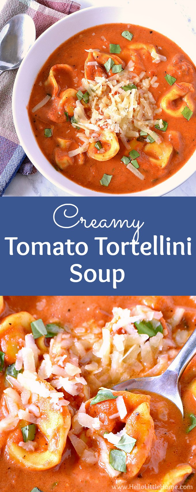 Creamy Tomato Tortellini Soup Recipe! This easy vegetarian tortellini soup is a one pot recipe with a garlic, basil, and tomato base paired with tasty cheese tortellini. Great for families, winter dinners, lunches + parties, this homemade tomato tortellini soup is total comfort food. An Italian inspired tortellini soup, this simple, meatless recipe is ready fast and is super cheesy! | Hello Little Home