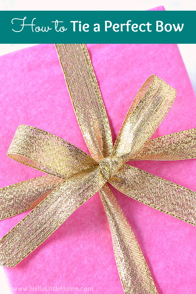 How to Tie a Perfect Bow … step by step tutorial with video! Learn how to tie a bow with ribbon for gifts, wreaths, hair ... anything! In this easy tutorial, you'll learn how to tie a simple bow around a box. These pretty bows are perfect for wrapping holiday presents and for Christmas decorations around your home. Once you know how to make DIY bows you never give a plain gift again! | Hello Little Home #bowtutorial #howtotieabow #RibbonBow #ribbonbowdiy #diybow #giftwrapping #giftwrappingideas