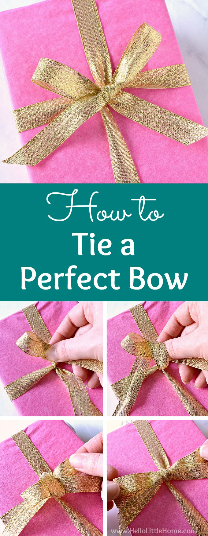 how to tie a perfect bow hello little home. Black Bedroom Furniture Sets. Home Design Ideas