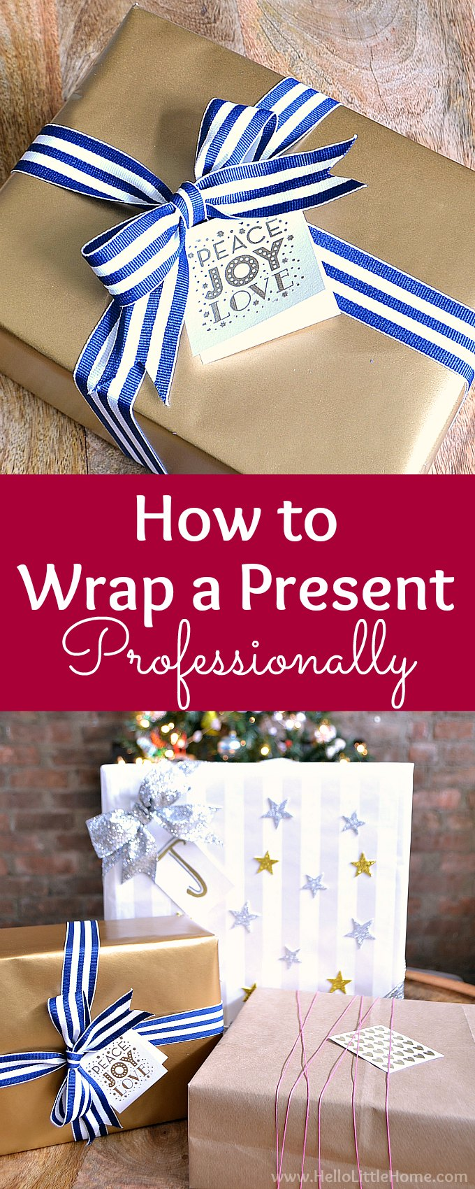 How to Wrap a Present Professionally! Wrap gifts like a pro with this easy tutorial that shows you how to wrap a present perfectly step by step. These easy gift wrapping tips work for any size box. Follow this simple present wrapping tutorial for beautifully wrapped presents every time. The best way to wrap a present! Plus, tips for wrapping oddly shaped gifts. | Hello Little Home