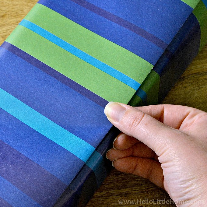 Matching stripes on the wrapping paper.