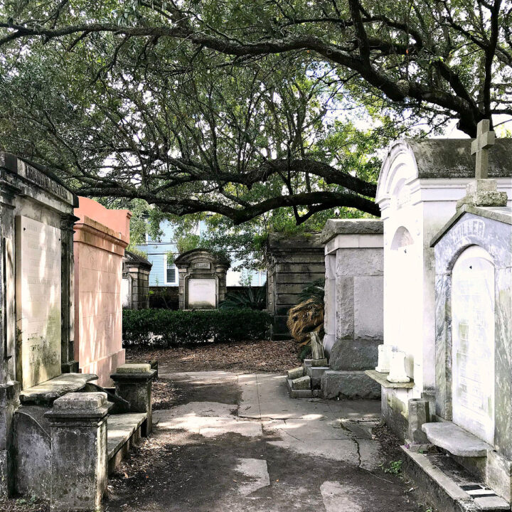 A path lined with tombs in Lafayette Cemetery No. 1.