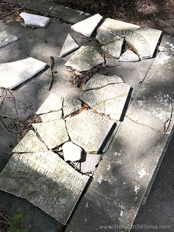 Broken Grave Marker in Lafayette Cemetery No. 1 New Orleans