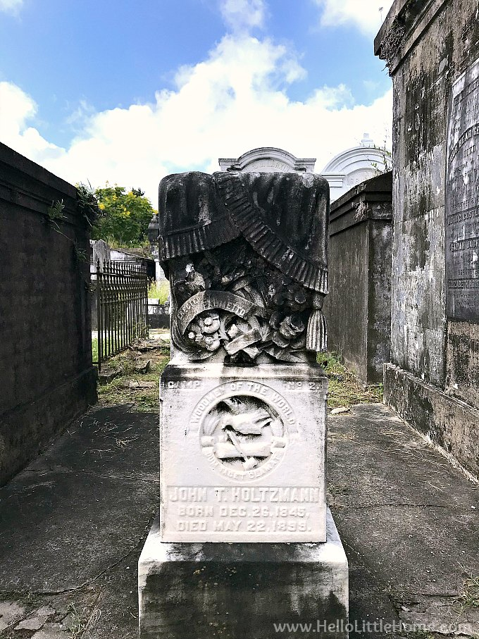 Unique Grave Marker with Woodmen of the World Fraternal Emblem at Lafayette Cemetery New Orleans