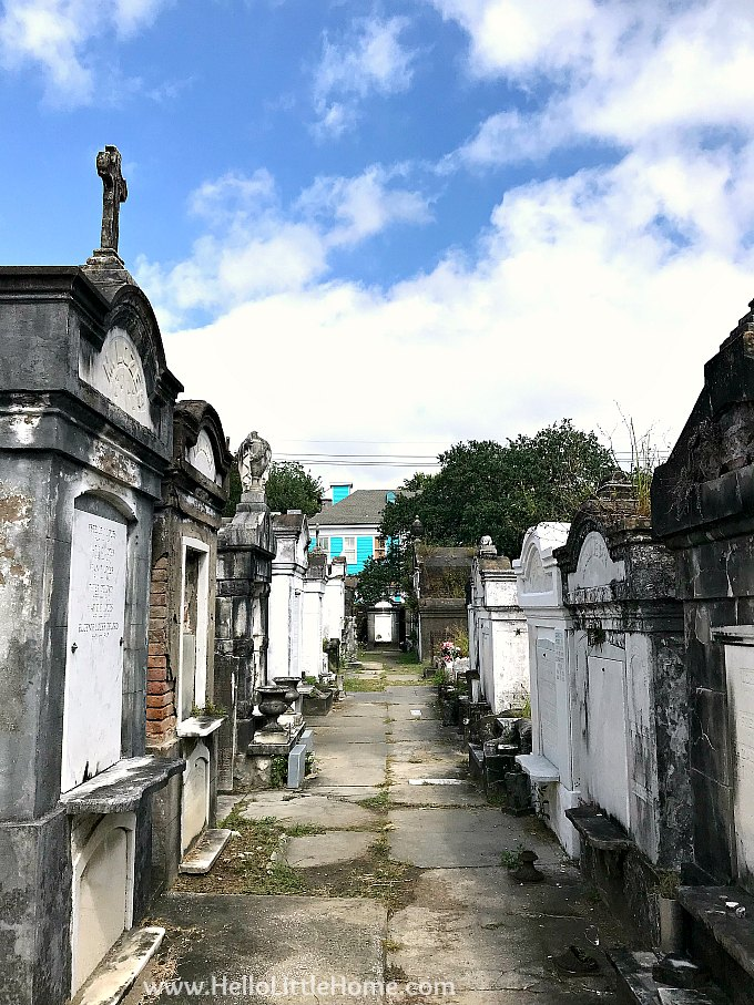 View of Walkway Surrounded by Vaults in Lafayette Cemetery No. 1 New Orleans