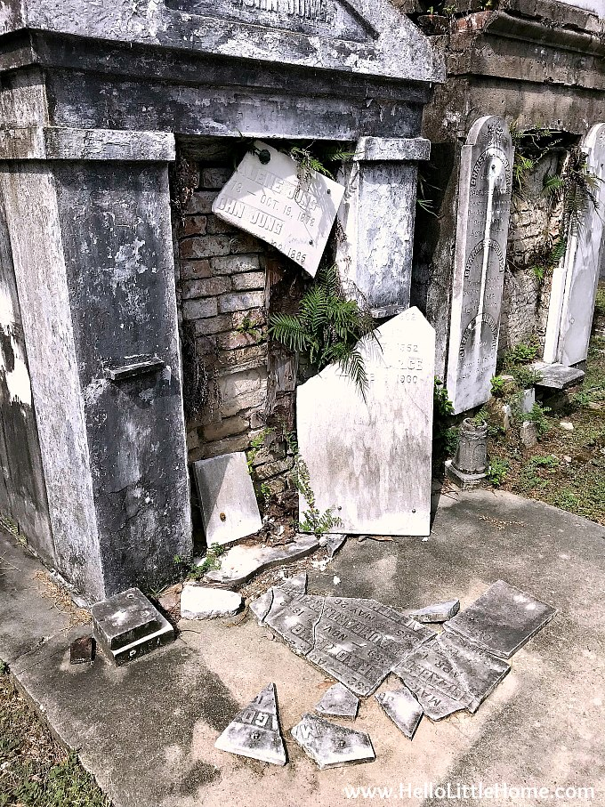 Broken Marker on Front of a Family Vault in Garden District Cemetery