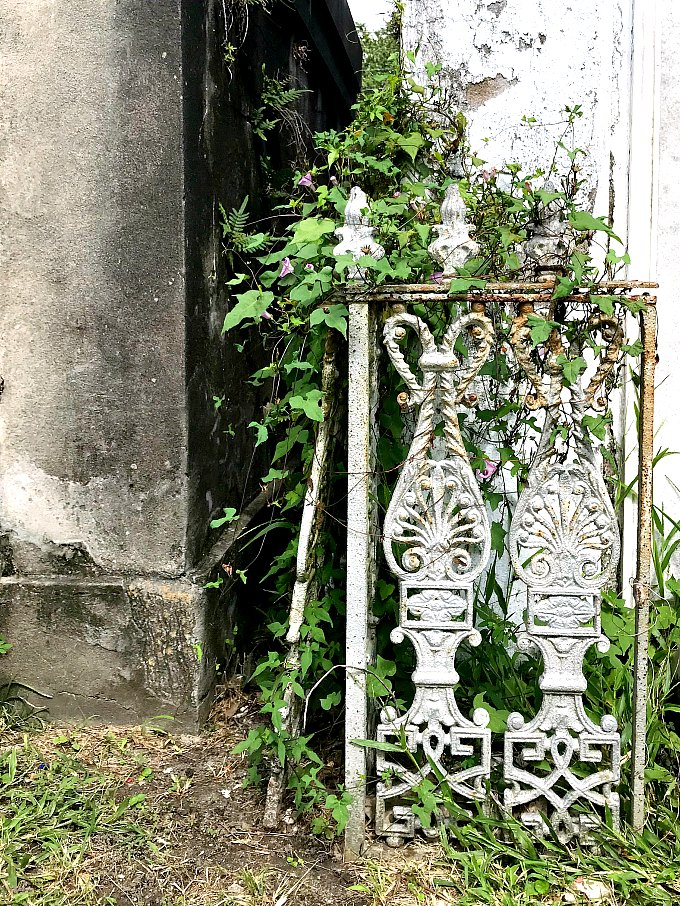 Piece of Cast Iron Gate at New Orleans Lafayette Cemetery