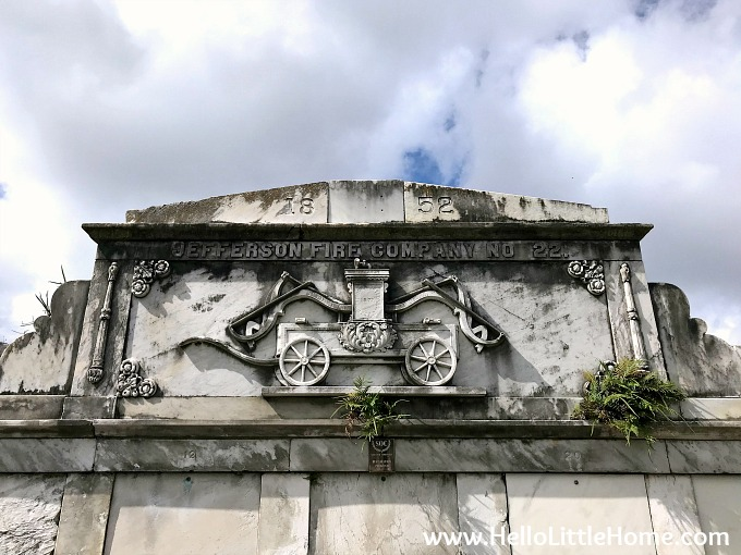 Detail from Jefferson Fire Company No. 22 Tomb at Lafayette Cemetery No. 1 in the Garden District