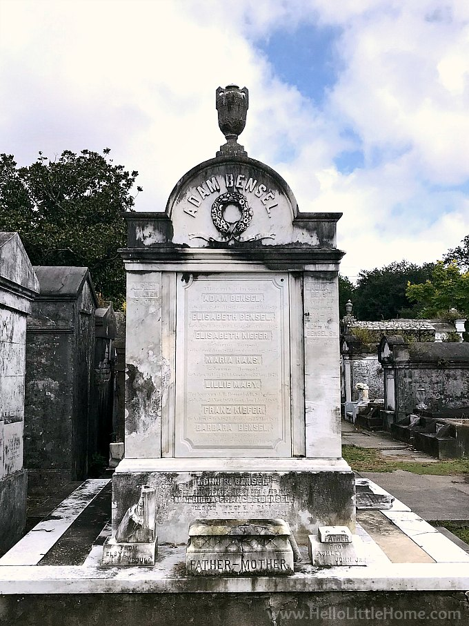 Family Vault Topped Inlayed with a Wreath and Topped with a Decorative Urn in Lafayette Cemetery No. 1 in NOLA's Garden District