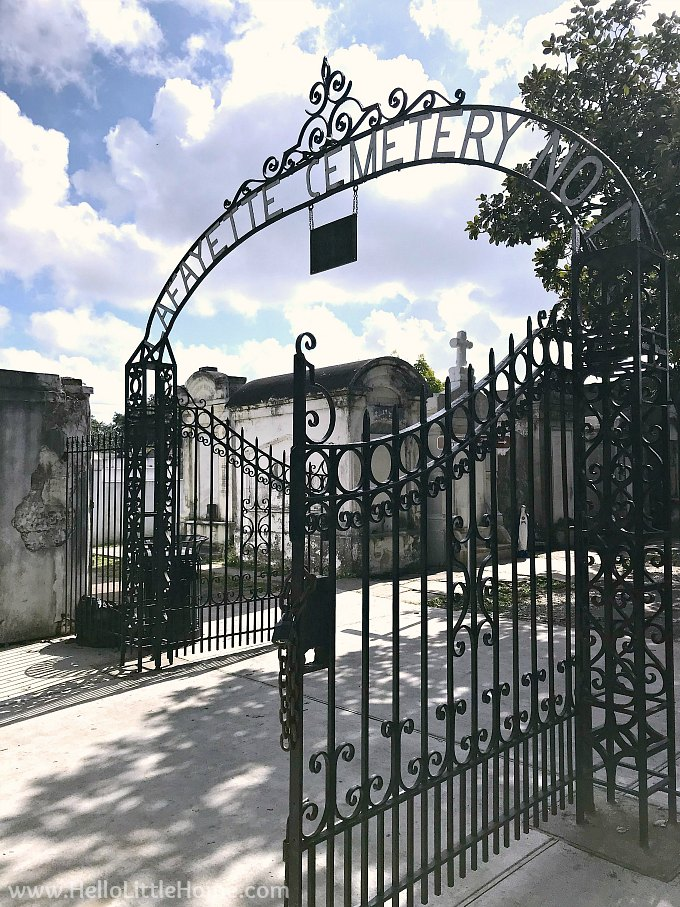 Take a tour of Lafayette Cemetery No. 1 in New Orleans! This beautiful cemetery is one of the best things to do in the Garden District in NOLA. This travel guide has many tips (and pictures) for taking a free self guided tour of this historic New Orleans cemetery. Lafayette Cemetery New Orleans is safe to explore alone or in groups or families, so add it to your New Orleans bucket list!   Hello Little Home #gardendistrict #neworleans #neworleanscemetary #lafayettecemetery #nola #onetimeinnola