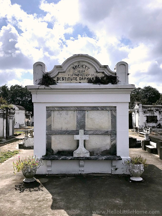 Society for the Relief of Destitute Orphans Vault in Lafayette Cemetery No. 1 in the New Orleans Garden District