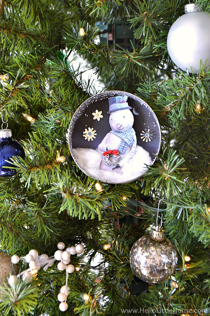 DIY Vintage Christmas Ornament on Tree