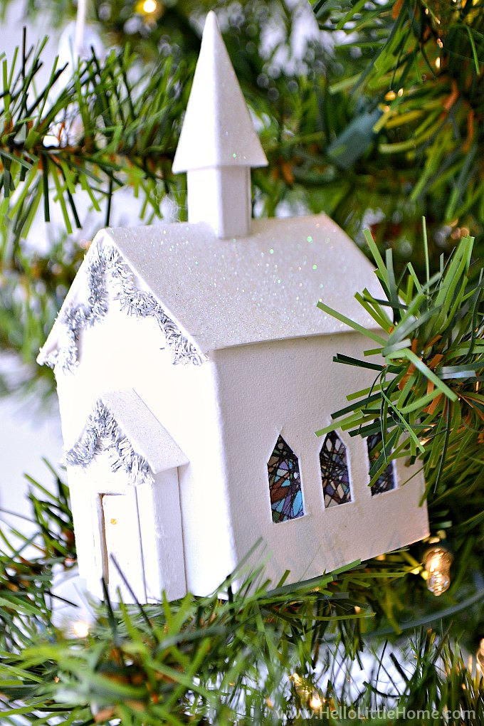 Mini Church Ornament on Christmas Tree