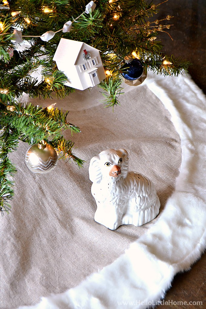 Staffordshire Dog under a Modern Christmas Tree
