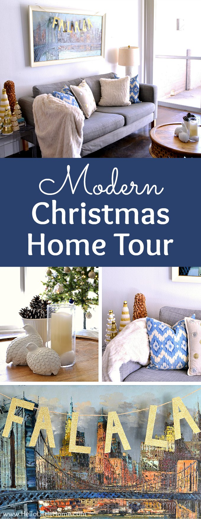 Modern Christmas Home Tour! This modern holiday home tour is full of fun, inspiration, and simple decorating ideas. Featuring a blue, gold, and white decorating theme, this tour has many easy Christmas ideas and crafts, including DIY Christmas ornaments, a sparkly gold garland, and a festive Xmas tree! These Modern Christmas decorating ideas are perfect for apartments and anyone on a budget. | Hello Little Home