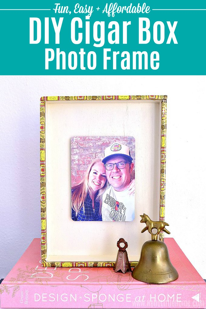 DIY Cigar Box Photo Frame tutorial! Looking for DIY photo frame ideas? Learn how to make a DIY picture frame from a repurposed cigar box. This easy cigar box craft is a simple vintage inspired wood frame for a fave photograph. A unique cigar box craft idea that's a creative gift for boyfriends, kids, friends, or moms or a home decor decoration you can hang on the wall. | Hello Little Home #cigarbox #cigarboxcraft #diyphotoframe #photocraft #photograph #pictureframes #diypictureframe