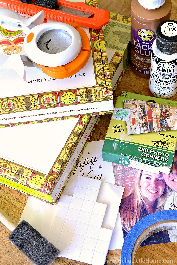 DIY photo frame supplies.