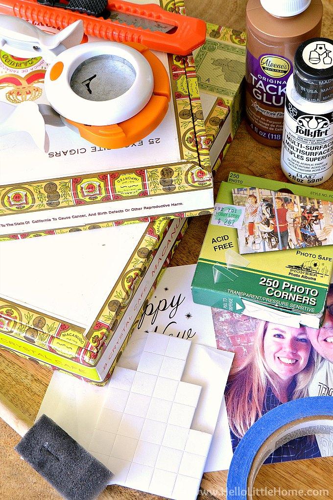DIY photo frame supplies.