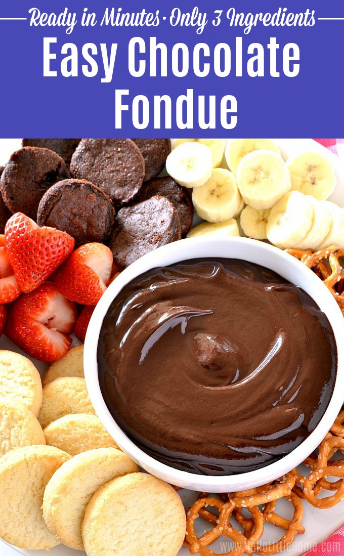 Easy Chocolate Fondue recipe! Learn how to make this dark chocolate fondue from three simple ingredients. Plus, tons of ideas for chocolate fondue dippers, like fruit, pretzels, strawberries, brownies, and more. This simple chocolate fondue recipe is the perfect party food for Valentine's day, girls night, or get togethers with friends and family. | Hello Little Home #fondue #fonduerecipe #chocolaterecipes #chocolate #valentinesday #valentinesdayrecipe #partyfood
