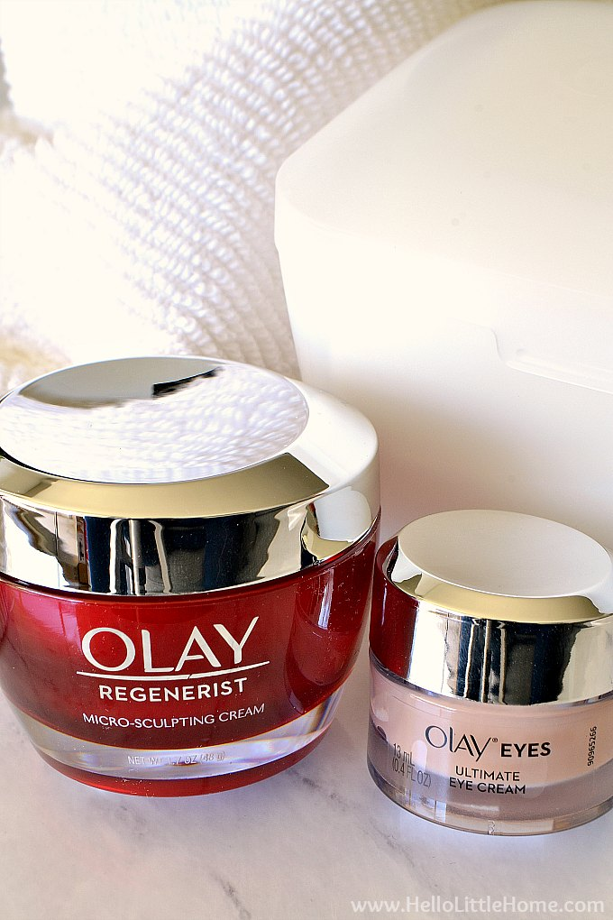 3 Olay products to improve your skin: a cleanser, eye cream, and moisturizer.