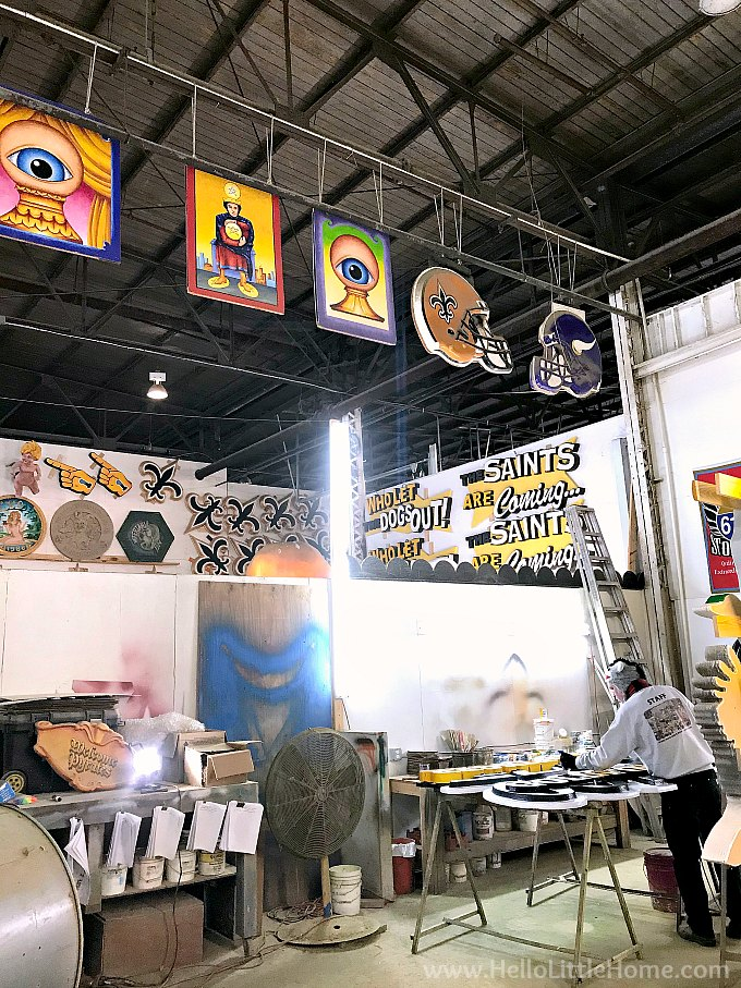 An artist working at Mardi Gras World.