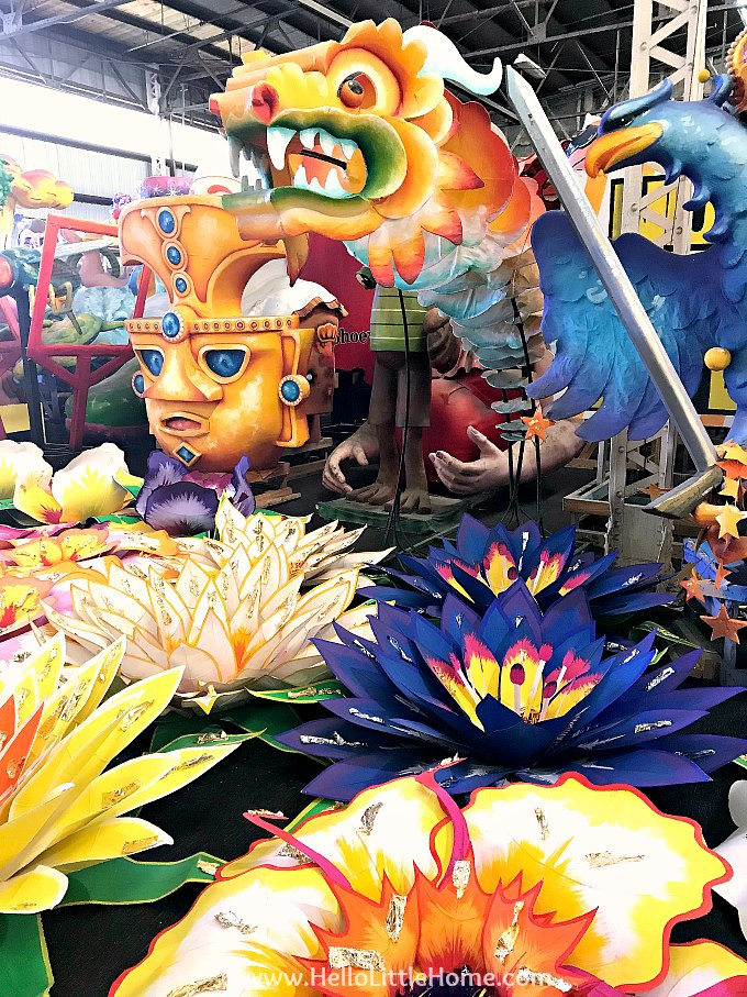 Mardi Gras float props and flowers.