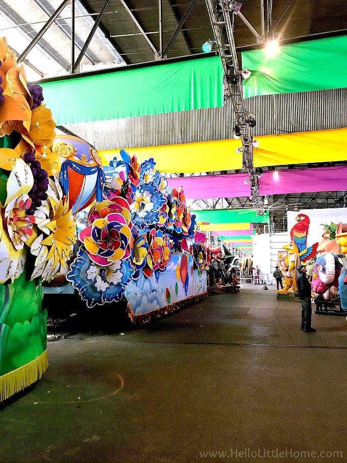 Warehouse filled with Mardi Gras floats.