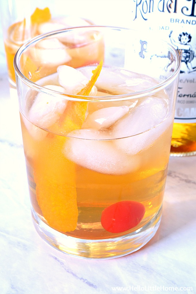 Closeup of an old fashioned made with rum.