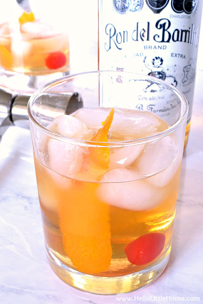 An old fashioned with rum.