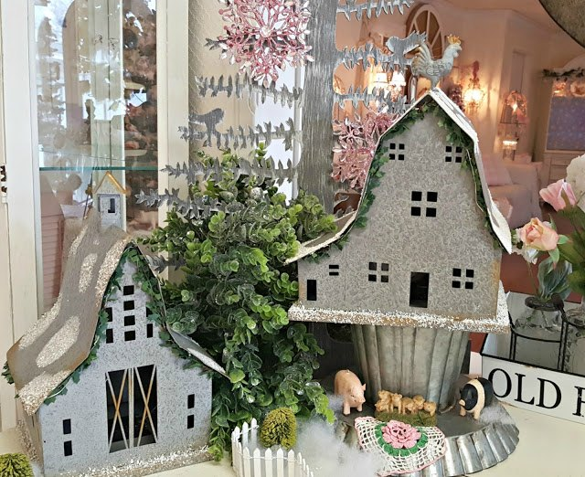 Silver White Farmhouse Vignette from Penny's Vintage Home | Featured on Best of the Weekend at Hello Little Home