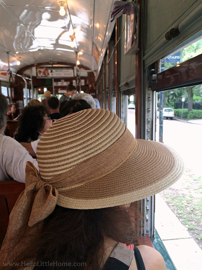 Riding the St. Charles Streetcar on a rainy day in New Orleans.