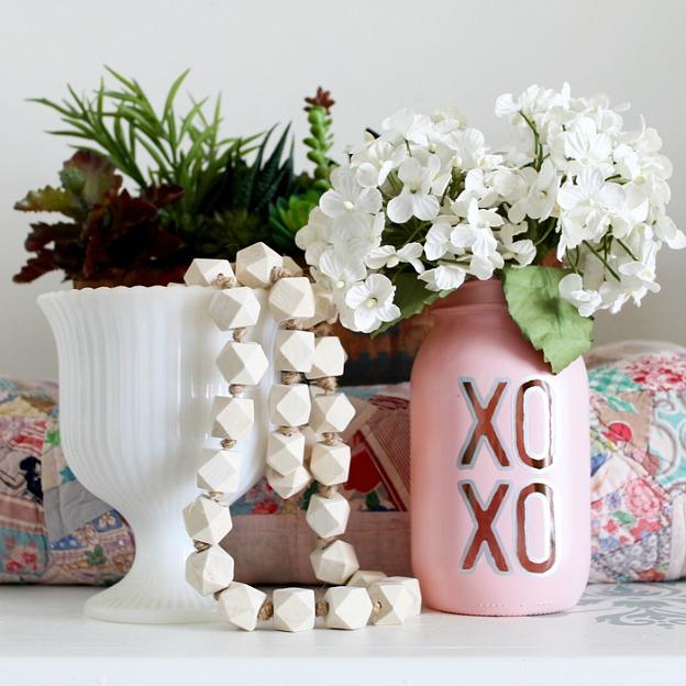 A Valentine's Day Mason Jar Vase.