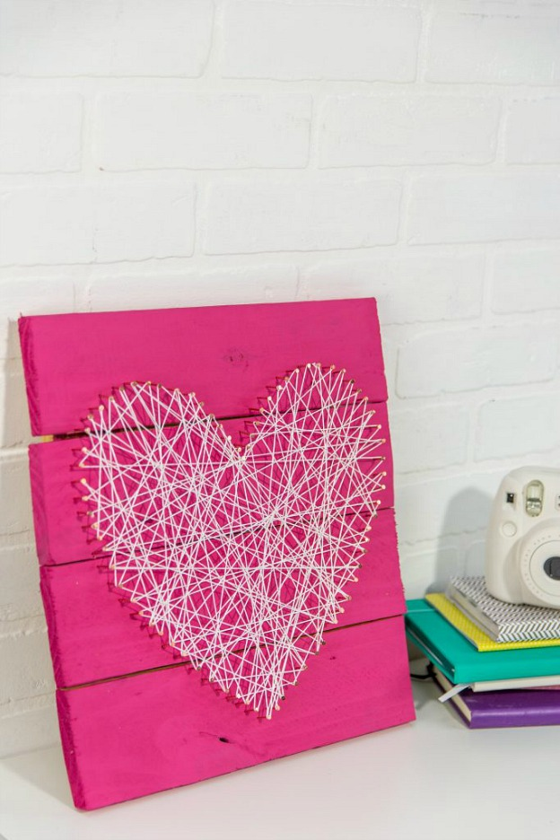 DIY Heart String Art, a simple DIY Valentine's Day decor idea.
