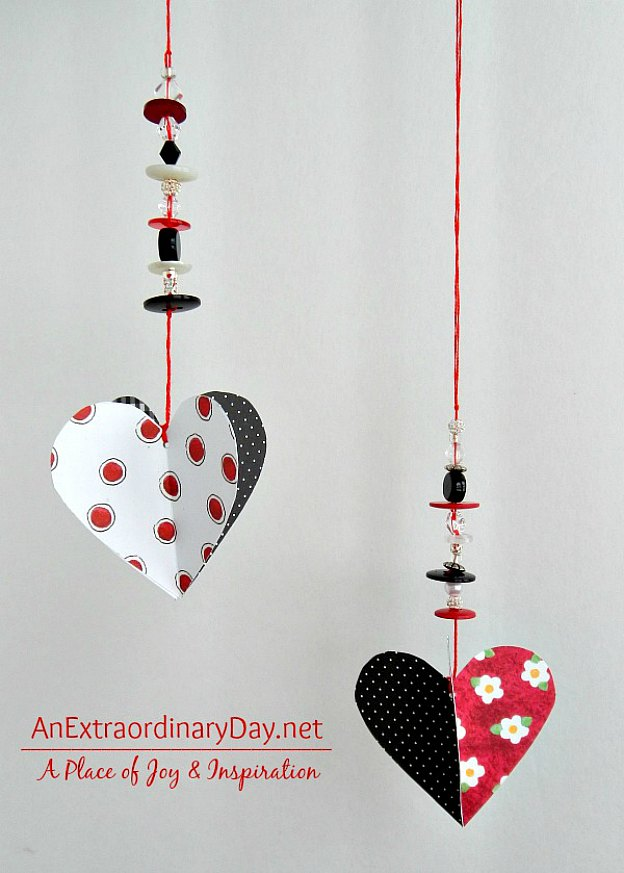 DIY Hanging Paper Hearts perfect for decorating the home for Valentine's Day