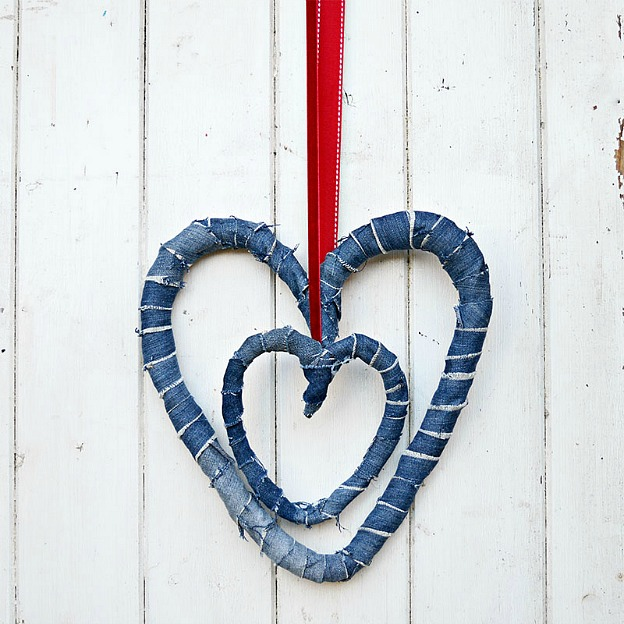 Homemade denim heart wreaths for Valentine's Day.