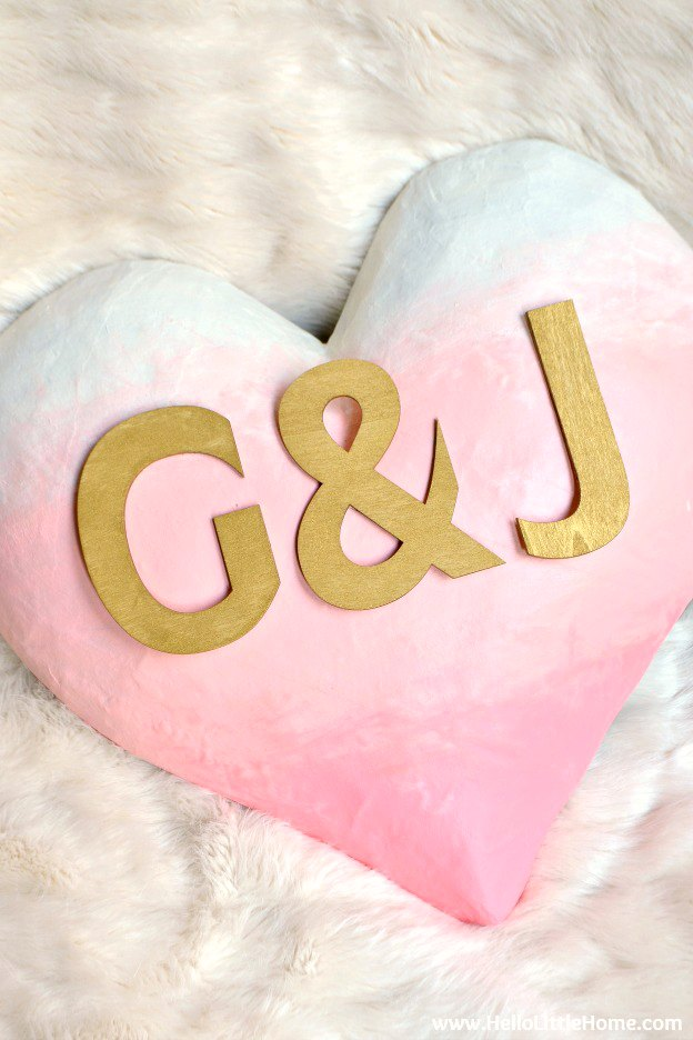 A homemade ombre heart is a fun Valentine's Day decoration for the home.