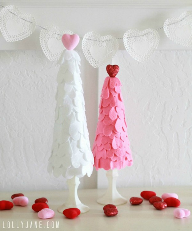 DIY Felt Heart Trees, a simple Valentine's Day decoration.
