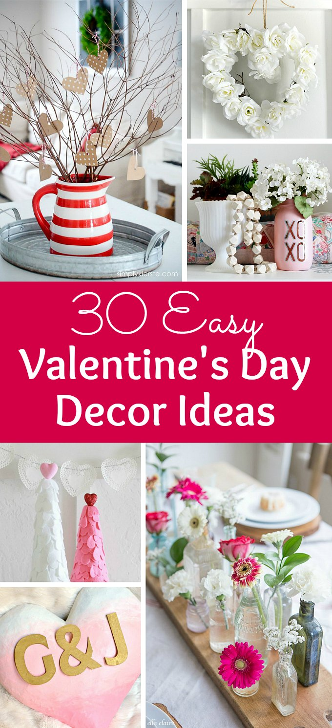 30 Easy Valentine's Day Decor Ideas! This fun roundup of romantic DIY Valentine's Day decorations for the home features creative homemade ideas for wreaths for doors, Valentine mantles, table decorations, Valentine's party decorations, and more. These DIY Valentine's Day crafts are a simple and easy way to decorate for Valentine's Day. | Hello Little Home #valentinesday #valentinesdaydecor #valentinecraft #valentinesdaycrafts #heartdecor #mantledecor #decorideas #tablesetting