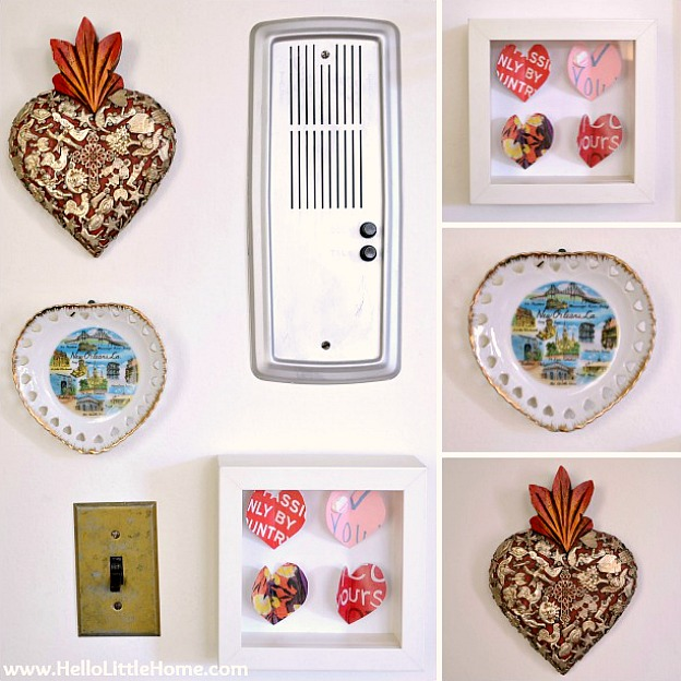 A heart-themed gallery wall is an easy Valentine's Day decoration.