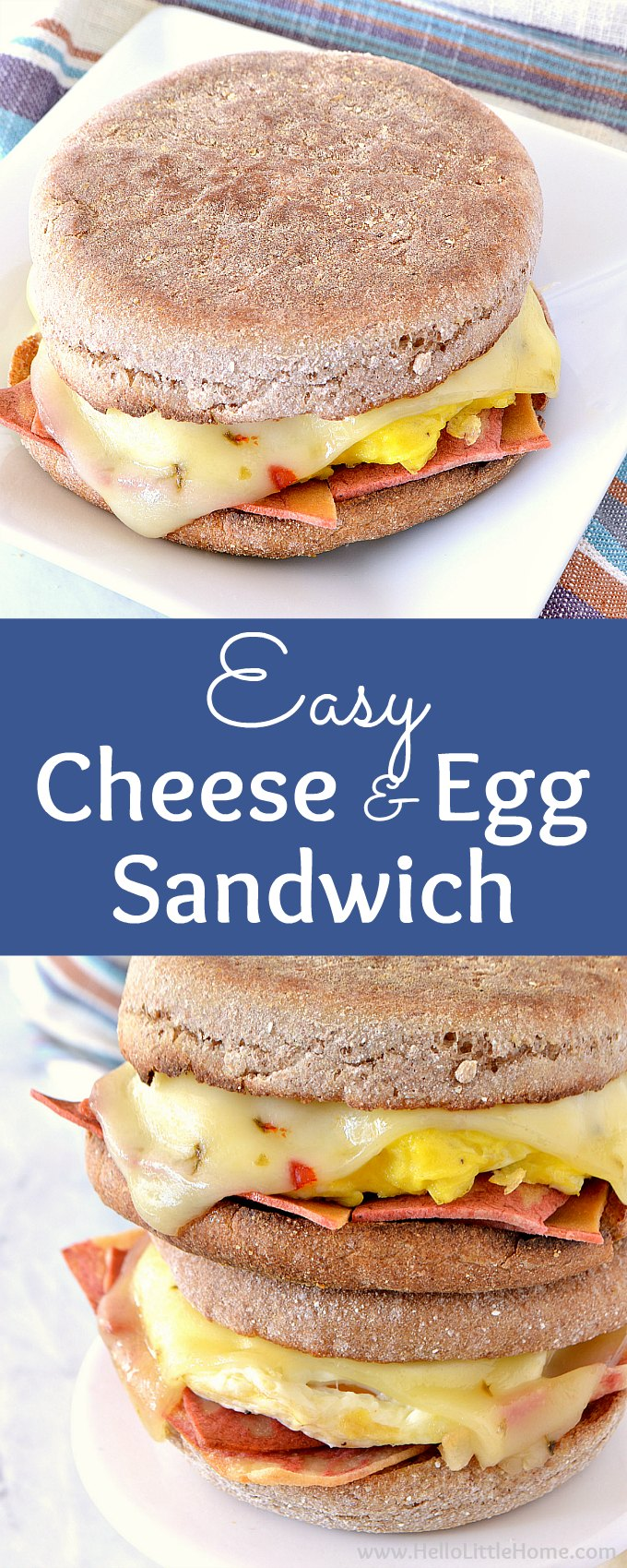 Easy Cheese and Egg Breakfast Sandwich recipe … the perfect healthy egg breakfast sandwich to start your mornings! This simple vegetarian egg sandwich is meatless and made with fried eggs or scrambled eggs, your fave cheese, and English Muffins (veggie bacon is optional). Make this homemade breakfast sandwich with no meat in minutes, then enjoy at home or on the go! | Hello Little Home #healthybreakfast #breakfastrecipes #breakfastsandwich #eggsandwich #vegetarianrecipes #breakfast #friedegg