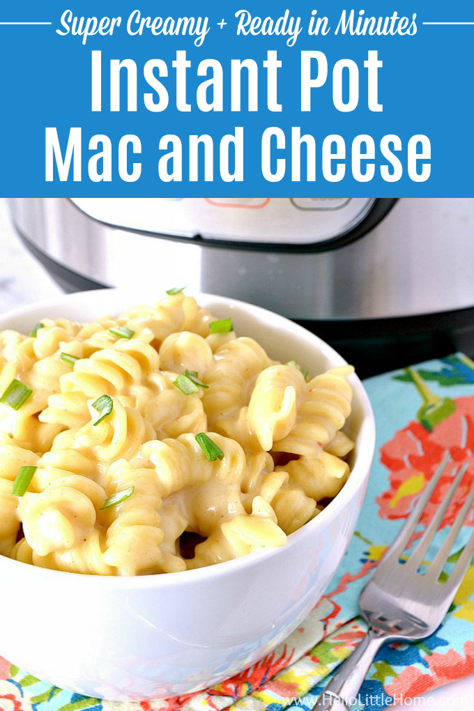 A bowl of mac and cheese in front of an Instant Pot.