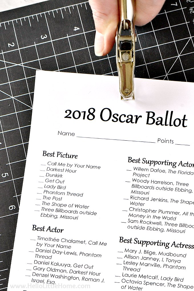 image regarding Printable Oscar Ballots titled Totally free Printable 2018 Oscar Ballot Good day Very little Property