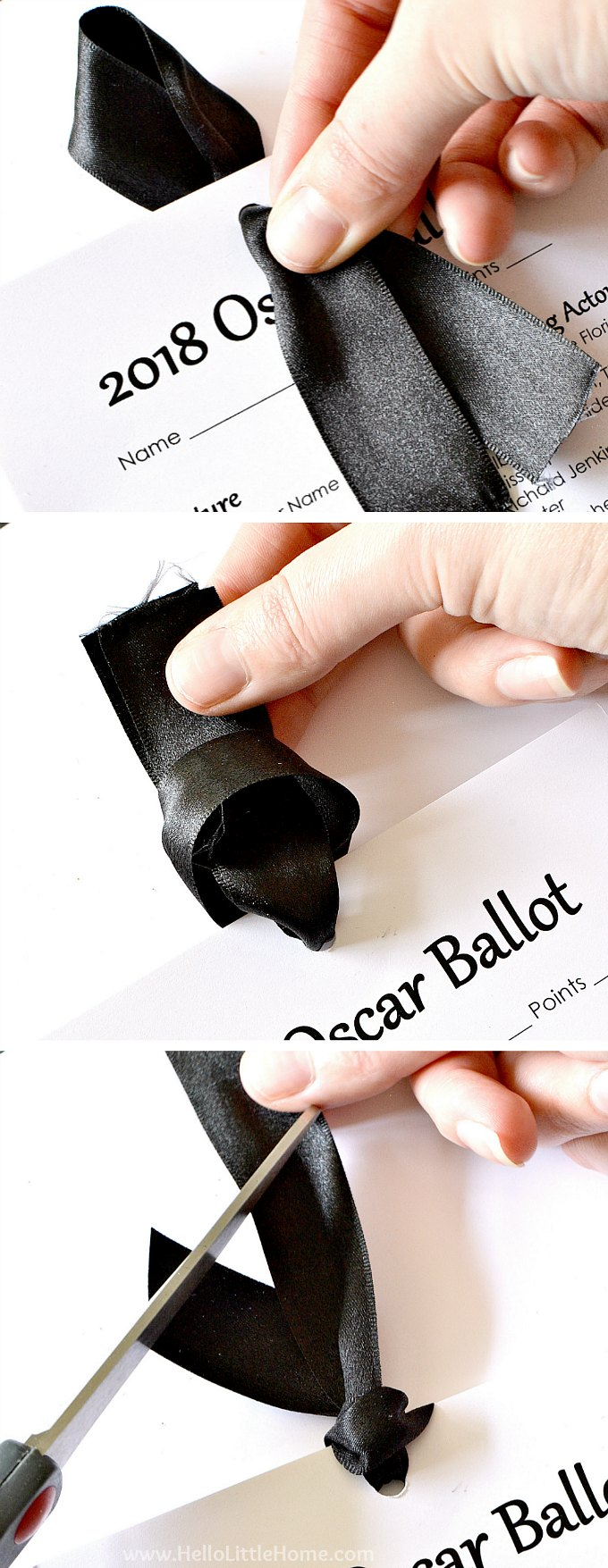 Tying the Oscar nominations printable ballots together with black ribbon.