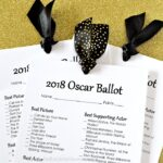 3 Printable Oscar Ballots tied together with ribbon on a gold glitter background