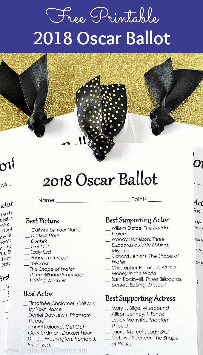 photograph regarding Printable Ballot named No cost Printable 2018 Oscar Ballot Hi there Tiny Household