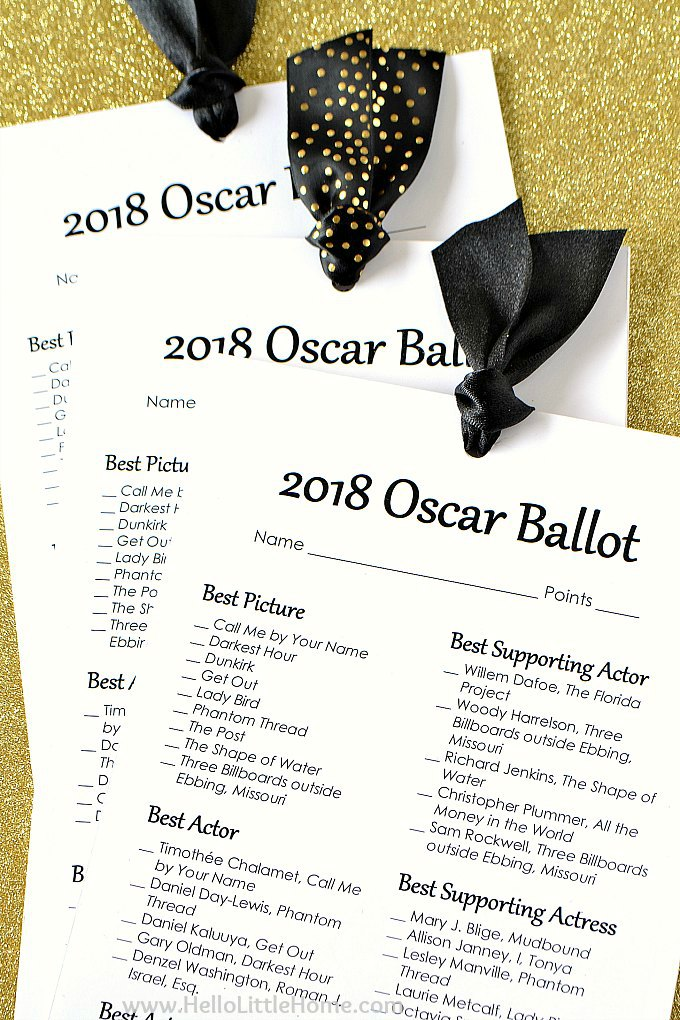 photo about Printable Oscar Ballots known as Absolutely free Printable 2018 Oscar Ballot Hi there Very little Household