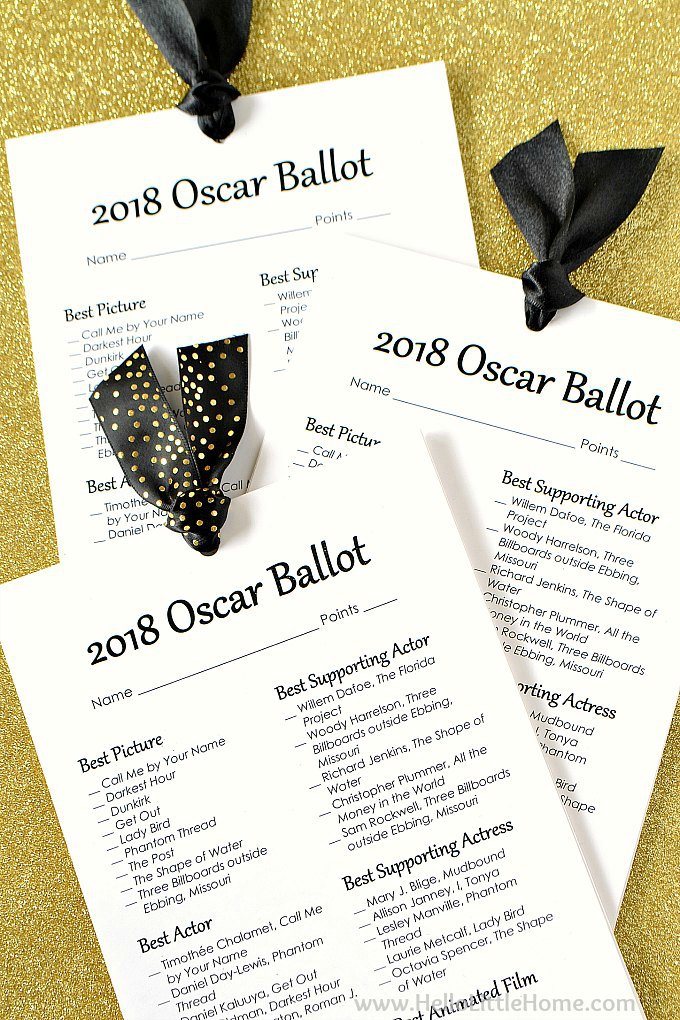 picture about Printable Oscar Ballots named Free of charge Printable 2018 Oscar Ballot Hello there Minimal Residence