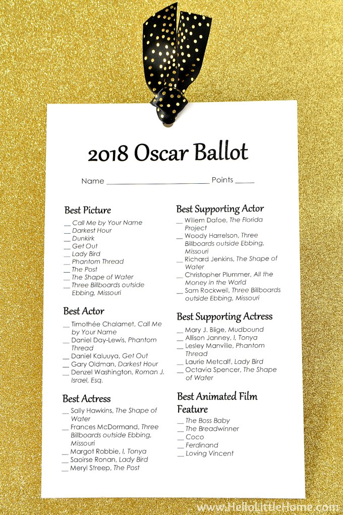 photograph about Oscar Ballots Printable known as Free of charge Printable 2018 Oscar Ballot Hello there Minimal House